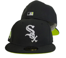 Load image into Gallery viewer, Black Chicago White Sox Neon green Bottom 5oth Anniversary Side patch New Era 59Fifty Fitted