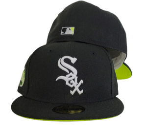Black Chicago White Sox Neon green Bottom 5oth Anniversary Side patch New Era 59Fifty Fitted