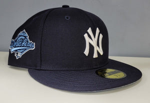 Navy Blue New York Yankees Sky Paisley Bottom 1996 World Series Side Patch New Era 59Fifty Fitted