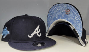 Navy Blue Atlanta Braves Sky Blue Paisley Bottom 1996 World Series New Era 9Fifty Snapback