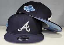 Load image into Gallery viewer, Product - Navy Blue Atlanta Braves Sky Blue Paisley Bottom 1996 World Series New Era 9Fifty Snapback