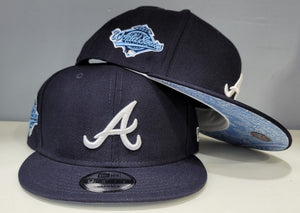 Product - Navy Blue Atlanta Braves Sky Blue Paisley Bottom 1996 World Series New Era 9Fifty Snapback