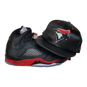 Matching New Era Toronto Blue Jays Snapback Hat for Jordan 5 Bred Satin Black / Red