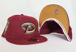 Burgundy Arizona Diamondbacks Gold Bottom 1998 Inaugural Season New Era 59Fifty Fitted