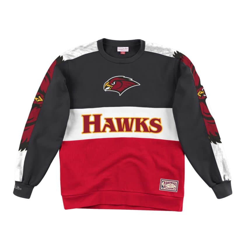 Atlanta Hawks Mitchell & Ness Scorer Fleece Crew Sweatshirt