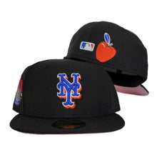 Load image into Gallery viewer, BLACK NEW YORK METS PINK BOTTOM NEW ERA 59FIFTY FITTED HAT