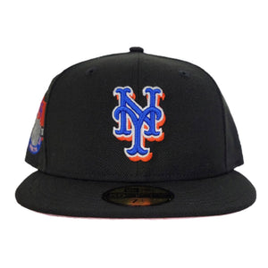 BLACK NEW YORK METS PINK BOTTOM NEW ERA 59FIFTY FITTED HAT