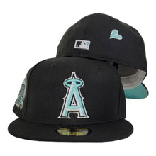 Load image into Gallery viewer, Black Los Angeles Angels Mint Green Bottom 50th Anniversary Patch New Era 59Fifty Fitted