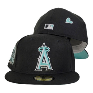Black Los Angeles Angels Mint Green Bottom 50th Anniversary Patch New Era 59Fifty Fitted
