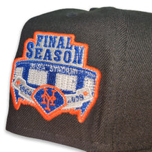 Load image into Gallery viewer, Black New York Mets Royal Blue Bottom Shea Stadium Final Season Patch New Era 59Fifty Fitted