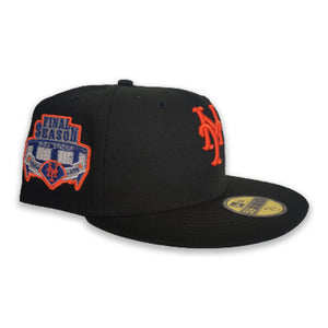 Black New York Mets Royal Blue Bottom Shea Stadium Final Season Patch New Era 59Fifty Fitted