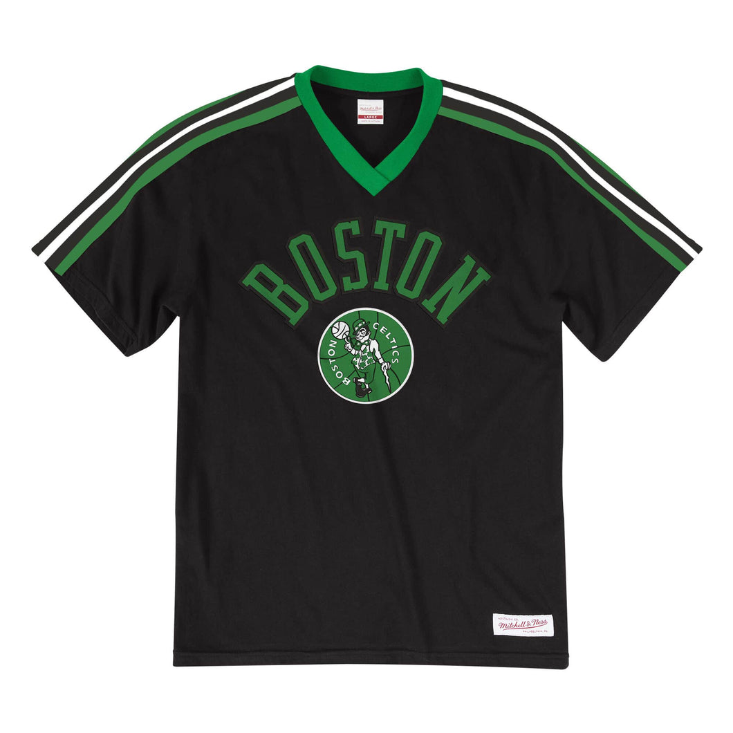 Boston Celtics Mitchell & Ness Overtime Win V-Neck T-Shirt – Black