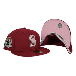 Burgundy Seattle Mariners Pink Bottom 30th Anniversary New Era 59Fifty Fitted
