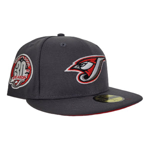 Dark Grey Toronto Blue Jays Red Bottom 30th Season Side Patch New Era 59Fifty Fitted