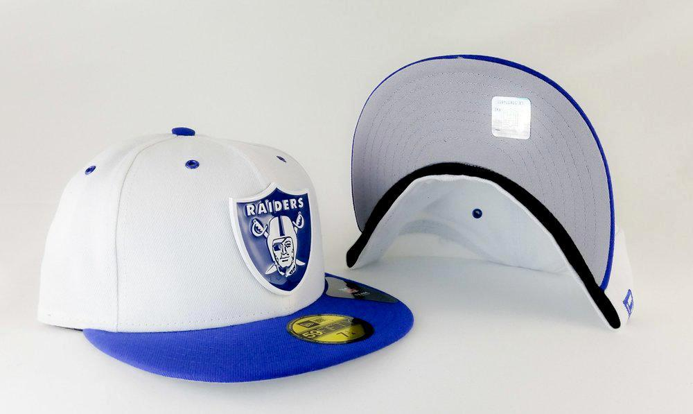Exclusive Matching New Era Oakland Raiders Metal Badge Fitted Hat for Jordan 13 Hyper Blue