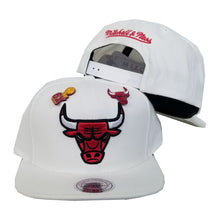 Load image into Gallery viewer, Exclusive Mitchell & Ness Dual Metal Pin White Chicago Bulls Snapback