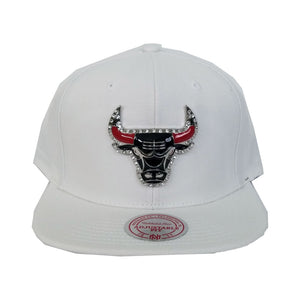 Exclusive Mitchell & Ness Red Rhinestone Chicago Bulls White Snapback