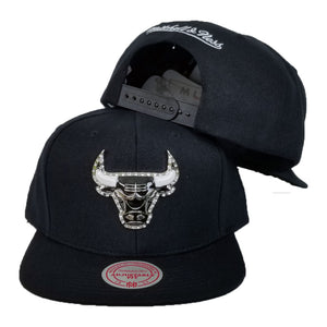Exclusive Mitchell & Ness Rhinestone Chicago Bulls Black Snapback
