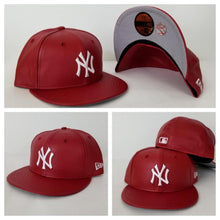 Load image into Gallery viewer, Exclusive New Era 59Fifty Red PU Leather Yankee Fitted Hat Cap