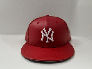 Exclusive New Era 59Fifty Red PU Leather Yankee Fitted Hat Cap