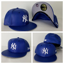 Load image into Gallery viewer, Exclusive New Era 59Fifty Royal Blue PU Leather Yankee Fitted Hat Cap