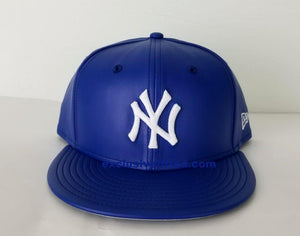 Exclusive New Era 59Fifty Royal Blue PU Leather Yankee Fitted Hat Cap