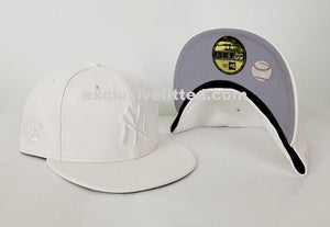 Exclusive New Era 59Fifty White Pebble Leather Yankee Fitted Hat Cap