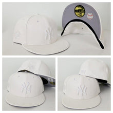 Load image into Gallery viewer, Exclusive New Era 59Fifty White Pebble Leather Yankee Fitted Hat Cap