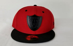 Exclusive New Era Red / Black Oakland Raiders Black Metal Logo Fitted Hat