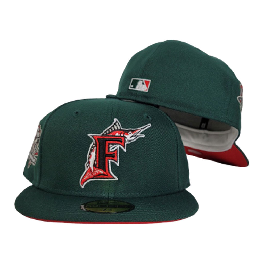 Florida Marlins Dark Green Red Bottom 10th Anniversary Patch New Era 59Fifty Fitted