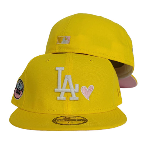 Glow In The Dark Yellow Los Angeles Dodgers Icy Blue Bottom 50th Anniversary New Era 59Fifty Fitted
