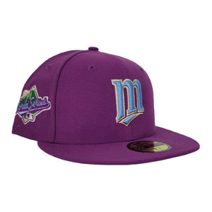 Grape Purple Minnesota Twins Icy Blue Bottom 1991 World Series Patch New Era 59Fifty Fitted