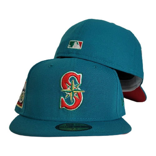 Green Seattle Mariners Red Bottom 40th Anniversary Side Patch New Era 59Fifty Fitted