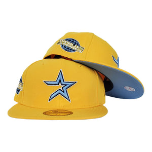 HOUSTON ASTROS TAXI YELLOW ICY BLUE BOTTOM 2005 WORLD SERIES NEW ERA 59FIFTY FITTED