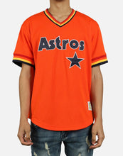 Load image into Gallery viewer, Houston Astros Mitchell & Ness Mesh V-Neck Orange Jersey