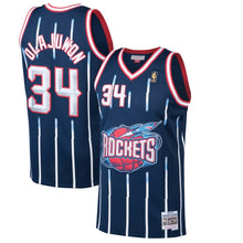 Load image into Gallery viewer, Houston Rockets 1996-97 Hakeem Olajuwon Mitchell & Ness Navy Swingman Jersey