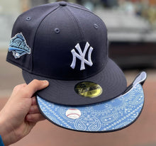 Load image into Gallery viewer, Product - Navy Blue New York Yankees Sky Paisley Bottom 1996 World Series Side Patch New Era 59Fifty Fitted
