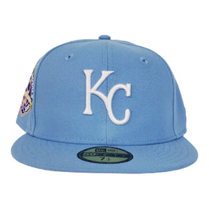Kansas City Royals Sky Blue Pink Bottom 40th Anniversary New Era 59Fifty Fitted
