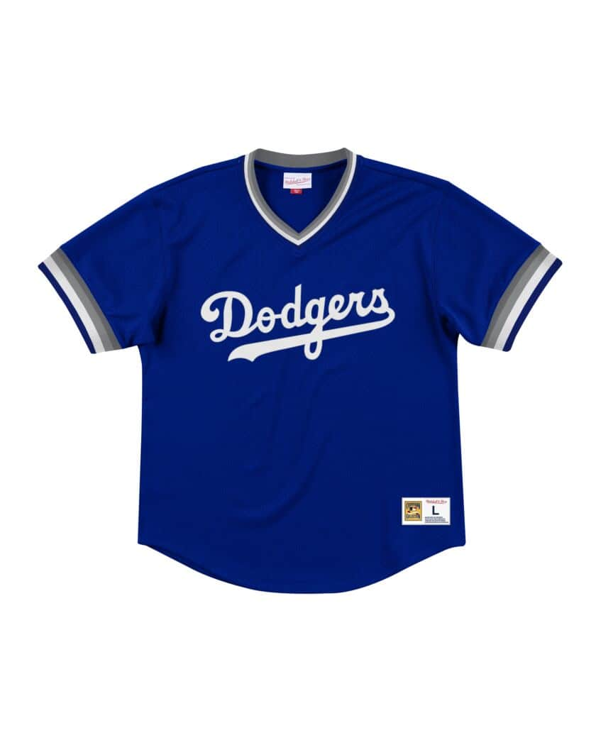 Los Angeles Dodgers LA Mitchell & Ness Mesh V-Neck Blue Jersey
