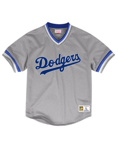 Los Angeles Dodgers LA Mitchell & Ness Mesh V-Neck Gray Jersey
