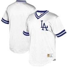 Load image into Gallery viewer, Los Angeles Dodgers Mitchell & Ness Mesh V-Neck Jersey – White