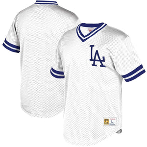 Los Angeles Dodgers Mitchell & Ness Mesh V-Neck Jersey – White