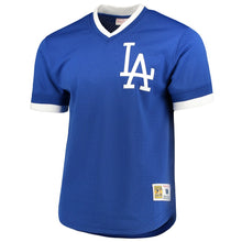 Load image into Gallery viewer, Los Angeles Dodgers Mitchell & Ness Royal Mesh V-Neck Jersey