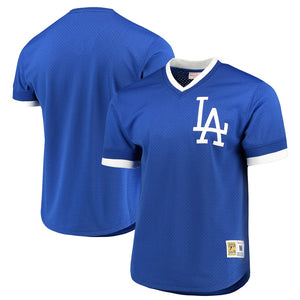Los Angeles Dodgers Mitchell & Ness Royal Mesh V-Neck Jersey