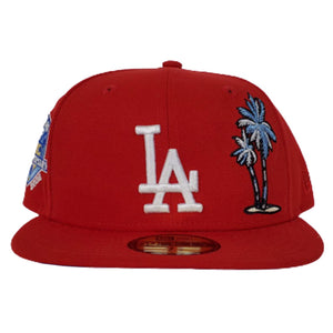 Los Angeles Dodgers Red Icy Blue Bottom 50th Anniversary Palm Tree New Era 59Fifty Fitted