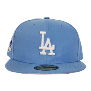 Los Angeles Dodgers Sky Blue Pink Bottom 60th Anniversary New Era 59Fifty Fitted