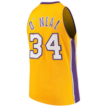 Load image into Gallery viewer, Los Angeles Lakers 1990-00 Shaquille O'Neal Mitchell & Ness Yellow Swingman Jersey