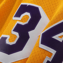 Load image into Gallery viewer, Los Angeles Lakers 1996-97 Shaquille O'Neal Mitchell & Ness Yellow Swingman Jersey