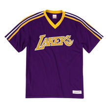 Load image into Gallery viewer, Los Angeles Lakers Mitchell & Ness Overtime Win V-Neck T-Shirt – Purple