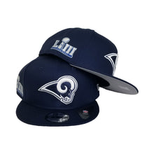 Load image into Gallery viewer, Los Angeles Rams New Era Navy Super Bowl LIII Side Patch Sideline 9FIFTY Snapback Adjustable Hat